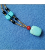 Turquoise Red and Black Stone Beaded Pendant Necklace with Lobster Claw ... - $10.99