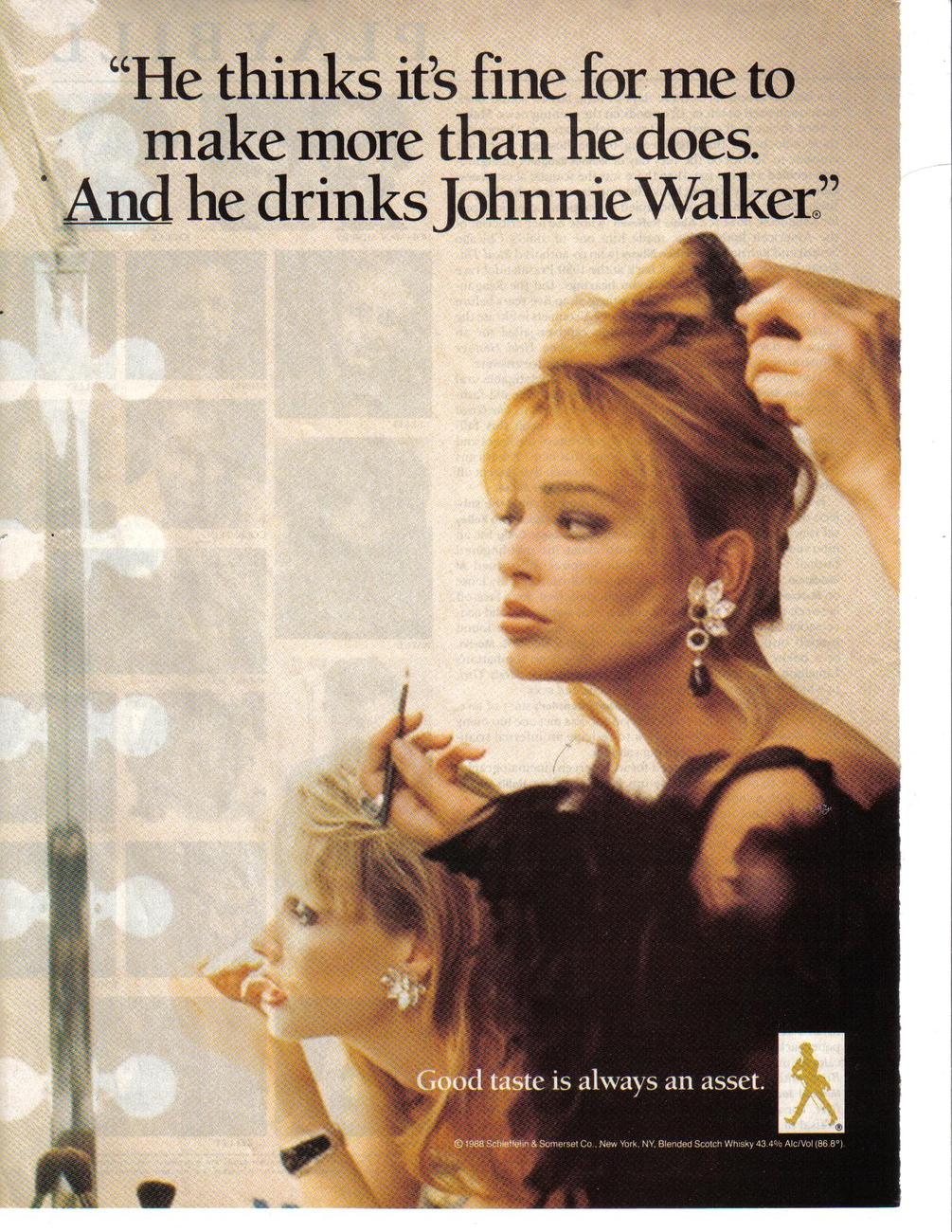 Johnnie Walker 2 Pages Color Print Ads From 1988 Original Collectible Very Good