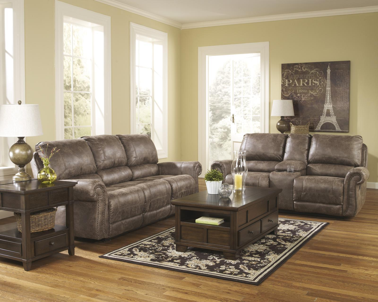 Ashley Oberson 2 Piece Living Room Set in Gunsmoke Non Power Contemporary Style