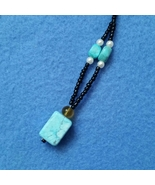 Turquoise and Faux Pearl Beaded Pendant Necklac... - $10.99