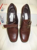 """Etienne Algner Brown Leather Walking Shoes 2"""" Medium Heel Sz: 6½ - $25.99"""