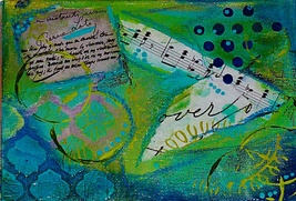 Abstract Music Theme Green and Blue Collage Acr... - $34.00