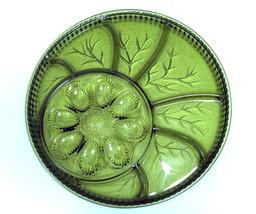 VTG  Indiana Glass Green Deviled Egg Relish App... - $16.81