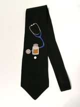 VTG Vicky Davis SILK Black Doctor Neck Tie Take Two Aspirin 3D Pharmacis... - $36.62