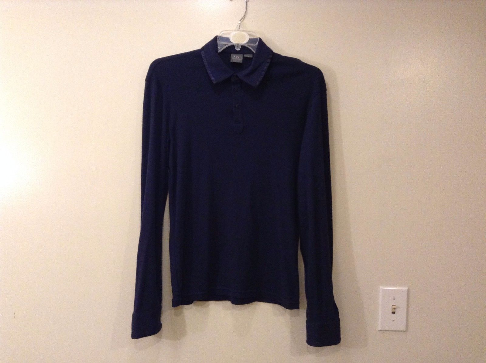 Mens Armani Exchange Navy Blue Long Sleeve Polo Style T-shirt Satin Trim Size M