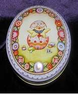 1998 Mary Engelbreit Michel & Co. Egg shape Tin Box #77840 Retired - $15.00