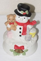 Vintage Flambro Porcelain Snowman w Bear Musical Chrismas Holiday 1989 - $14.01