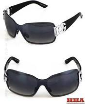 New DG Womens Sunglasses Shades Shield One lens Silver Black Retro Vinta... - $8.36