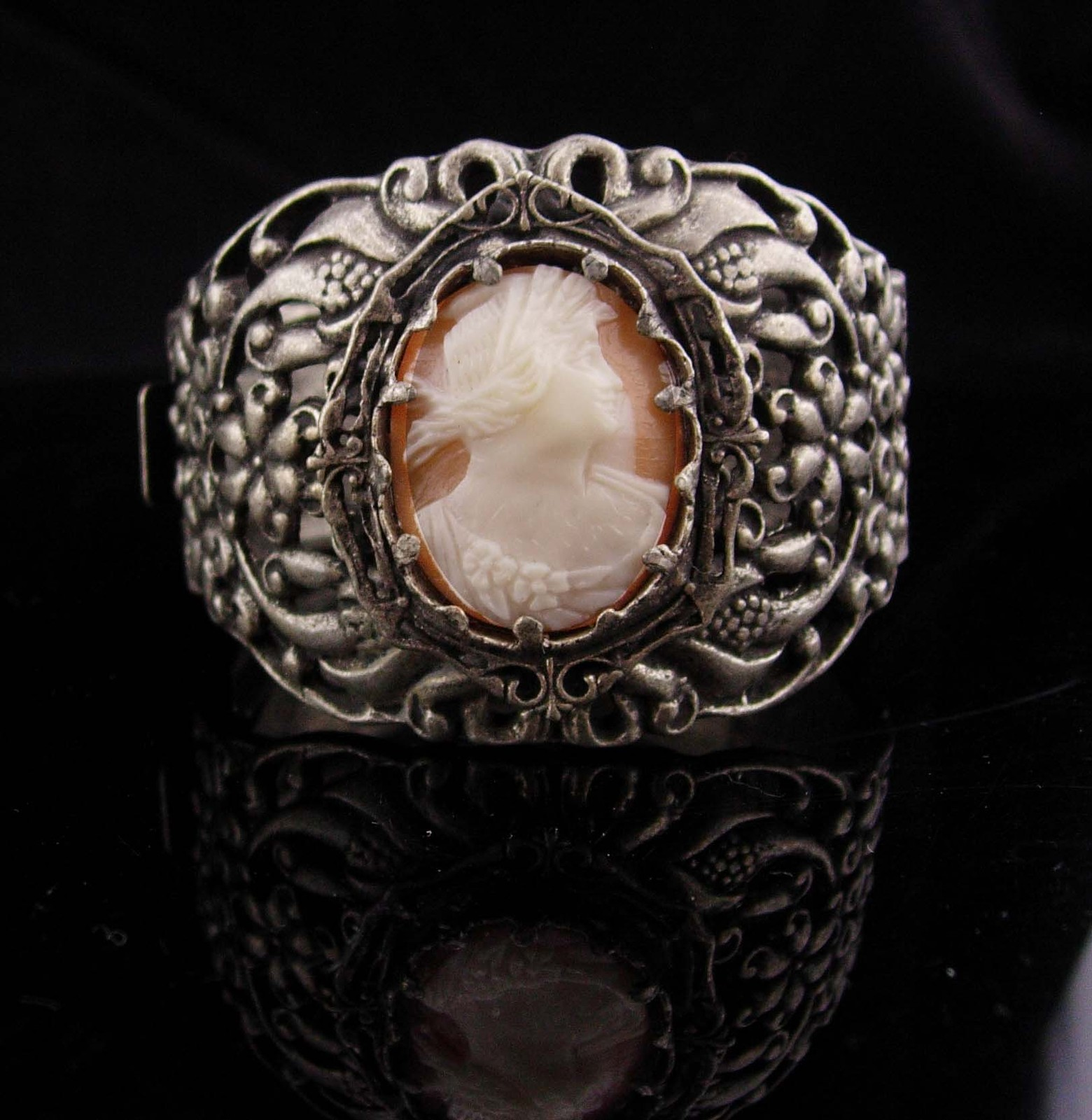 "Antique Cameo Bracelet / genuine cameo / 2"" wide / hinged bangle / Victorian"