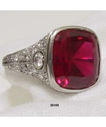 Edwardian Platinum Diamond Engagement Ring Synthetic Ruby 1900 to 1910 - $6,750.00