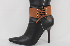 Women Fashion Jewelry Boot Bracelet Corset Style Strap Brown Fabric Shoe Anklet - $17.62