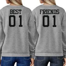 Best 01 And Friend 01 BFF Sweatshirts Friendship Matching Grey Fleece - $40.99