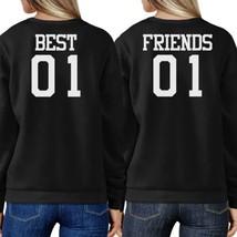 Best 01 And Friend 01 BFF Sweatshirts Friendship Matching Black Fleece - $40.99