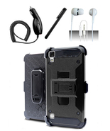 LG Tribute HD LS676 Black Hybrid Armor Dual Layer Case w/ Kickstand Holster - $11.99