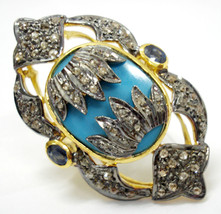 Victorian Look  1.30Ct Rose Cut Diamond 925 Sterling Silver Turquoises R... - €256,03 EUR