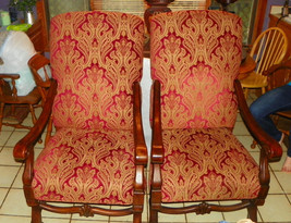 Pair of Walnut Armchairs / Parlor Chairs - $899.00