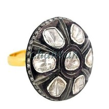 Vintage Antique Look Rose Cut Diamond Sterling Silver Polky Ring Ebay @C... - €218,68 EUR