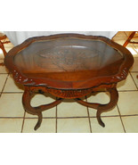 Walnut Eagle Carved Coffee Table with Serving Tray - $599.00