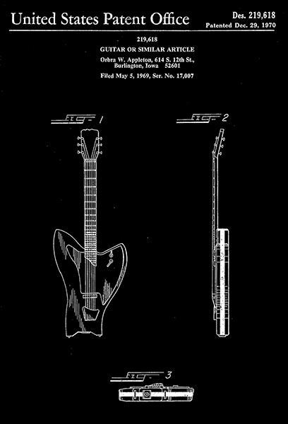 Primary image for 1970 - Guitar - O. W. Appleton - Patent Art Poster