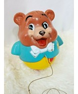 Vintage Fisher Price Teddy Bear Musical Rolly Polly Pull Toy 1969 USA  - $21.97