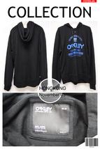 OY2BBKMM24 Oakley Black Sweater Blue Paint 2 Buttons Slim Fit Hoodie Men M Size - $69.99