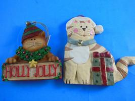 "Resin Cats in Santa Hats 3.5"" & 4.5"" Christmas Ornaments - $7.61"