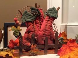 NWT Fall Pumpkins Cloth Wood Shelf Decor - €14,12 EUR