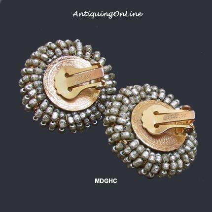 Hattie Carnegie Baroque Pearl Earrings Vintage 1950s