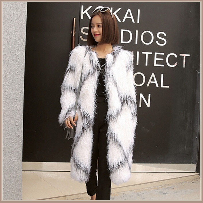 White Long Shaggy Hair Criss Cross Diamond Long Sleeve Mongolian Faux Fur Coat