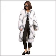 White Long Shaggy Hair Criss Cross Diamond Long Sleeve Mongolian Faux Fur Coat image 2