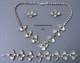 Rhinestone WIESNER Necklace Bracelet Earrings 1950s - $195.00