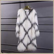White Long Shaggy Hair Criss Cross Diamond Long Sleeve Mongolian Faux Fur Coat image 3