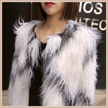 White Long Shaggy Hair Criss Cross Diamond Long Sleeve Mongolian Faux Fur Coat image 4