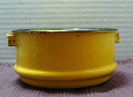 Vintage BRIGHT YELLOW Enameled Bowl // Mid Century RUSTIC Candy Dish  - $10.55