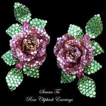 Vintage Siman Tu Earrings Rose Clipbacks - $235.00