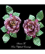 Vintage Siman Tu Earrings Rose Clipbacks - $235.00