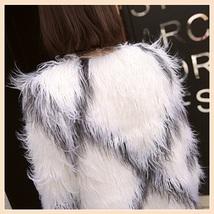 White Long Shaggy Hair Criss Cross Diamond Long Sleeve Mongolian Faux Fur Coat image 5