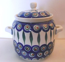 "Covered Jar with Handles Hand Painted Poland 6"" Boleslawiec - $49.00"