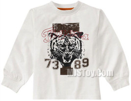 NWT GYMBOREE White Screen Printed Tiger Tee T-Shirt Active Top Collection - $12.99