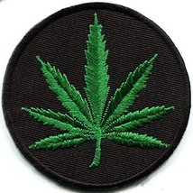 Marijuana leaf pot weed grass ganja hippie boho retro embroidered appliq... - $9.46