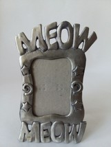 "1997 Meow Meow Pewter Picture Frame 1 1/2"" x 2 1/2"" Cat Lovers Picture F... - $18.55"
