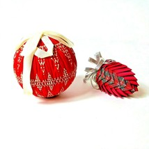 Red Cloth Christmas Ornaments Ball and Pine Cone - $10.00