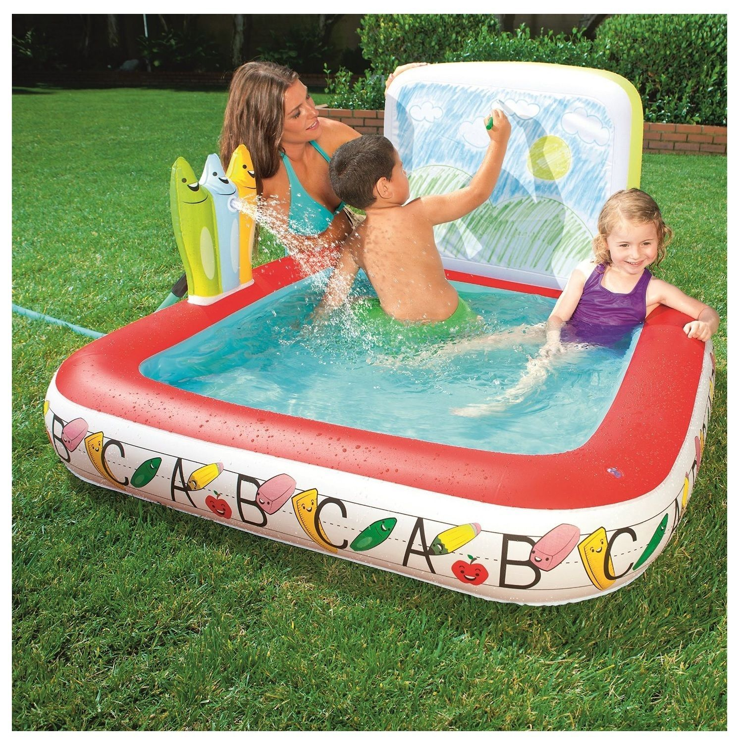 Inflatable pool swimming kids play center toddler backyard ball pit draw board inflatable How to draw swimming pool water