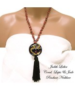 Judith Leiber Coral, Jade, Lapis Necklace Tassel Pendant Vintage 1980s - $325.00