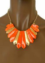 Vibrant Orange Marbled Acrylic Casual Everyday Chunky Bib Necklace Earrings Set - $14.73