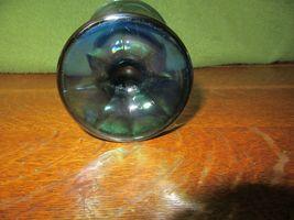 Vintage Iridescent Blue Carnival Glass Goblet Candle Holder-Grape image 6