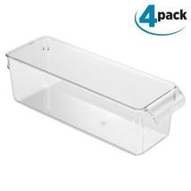 Utility Organizer Bin 4 Pack Clear Kitchen Bins Pantry Cabinet Storage NEW - $60.97