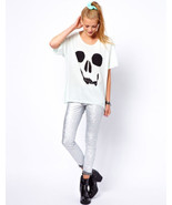 "~~ HAPPY SKULL! ~~ UBER-COOL WILDFOX ""SKULL FACE"" OVERSIZED T-SHIRT/TOP ... - $146.80"