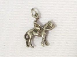Sterling Silver Vintage Western Man Riding Horseback Horse Charm Pendant - $15.00
