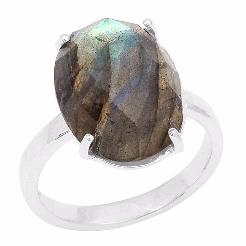 Unique Solid Handmade Jewelry Labradorite Gemstone 925 Silver Ring Sz 7 SHRI0811
